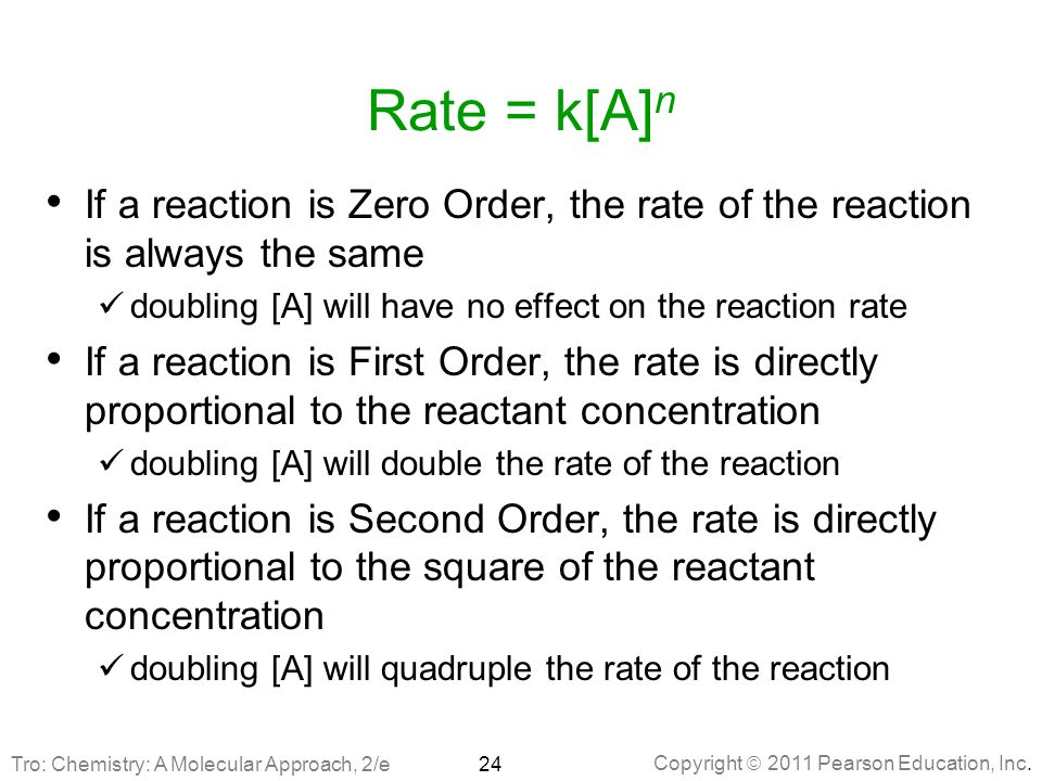 Rate = k[A]n If a reaction is Zero Order, the rate of the reaction is always the same. doubling [A] will have no effect on the reaction rate.